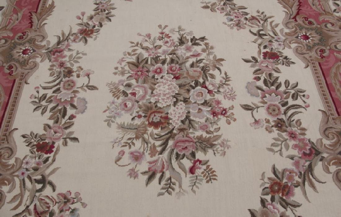 Hand woven Aubusson style floral rug, 10 x 14 - 2
