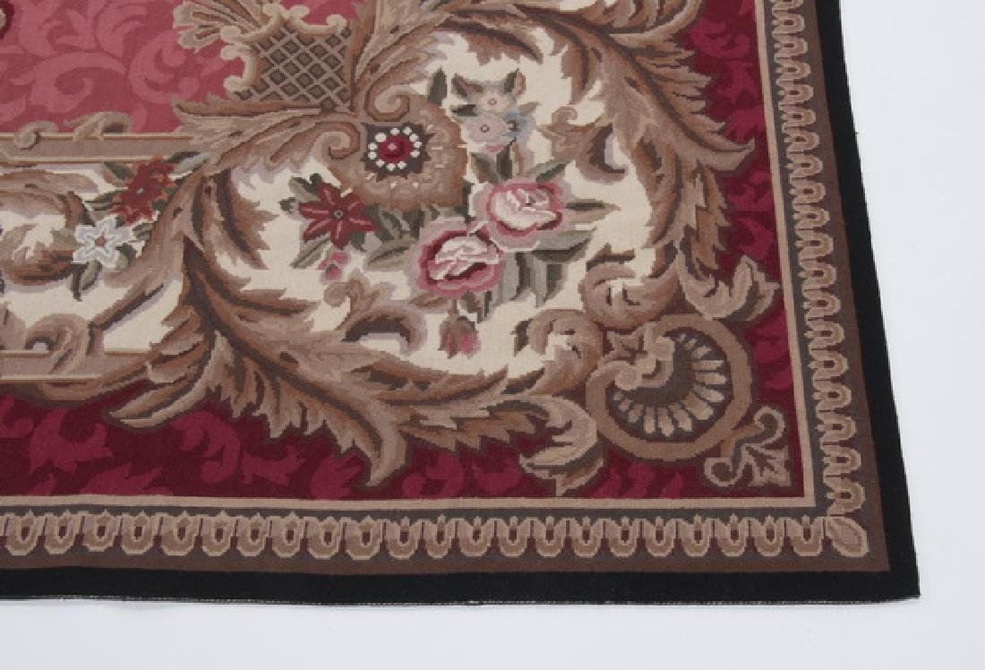 Hand woven Aubusson style floral rug, 10 x 14 - 3