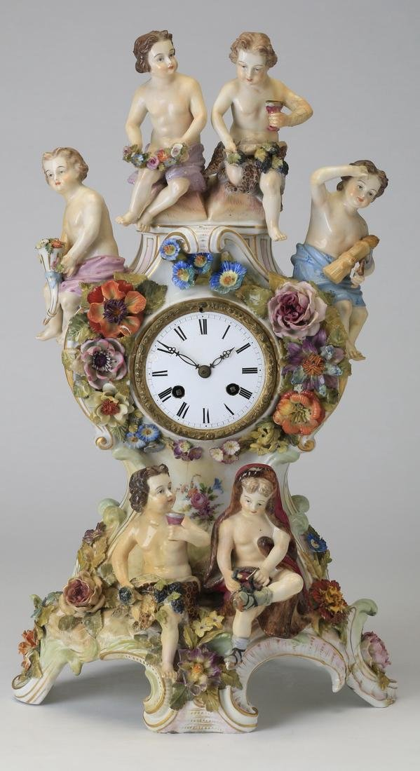 "Early 20th c. German porcelain clock, 19""h"