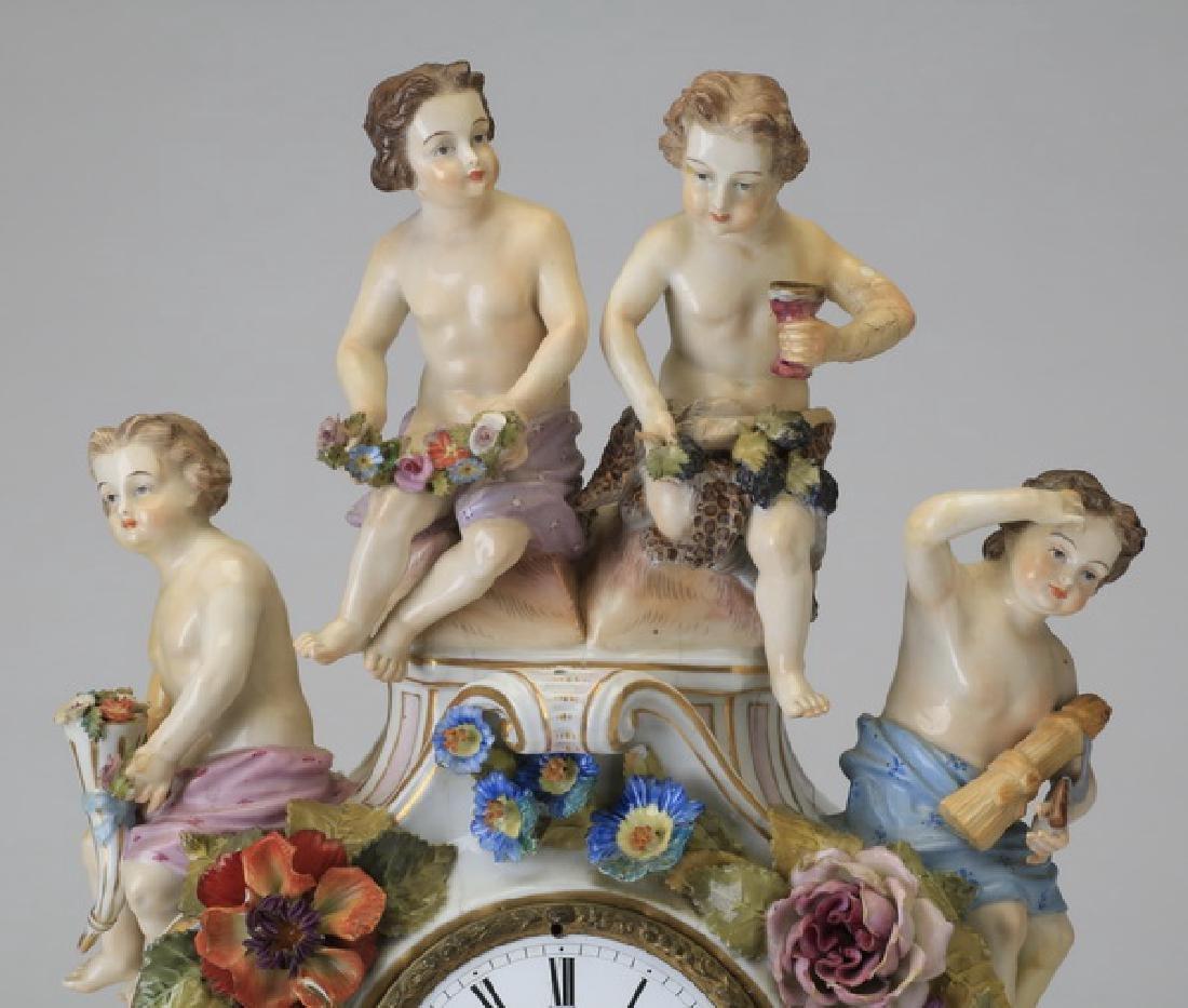 "Early 20th c. German porcelain clock, 19""h - 2"