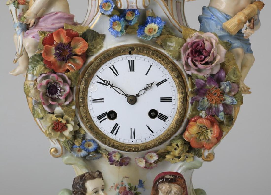 "Early 20th c. German porcelain clock, 19""h - 3"