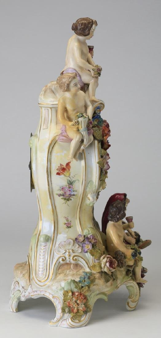"Early 20th c. German porcelain clock, 19""h - 5"