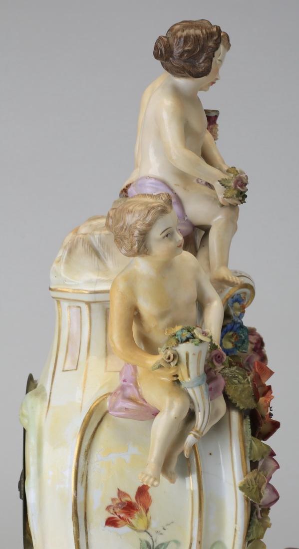 "Early 20th c. German porcelain clock, 19""h - 6"