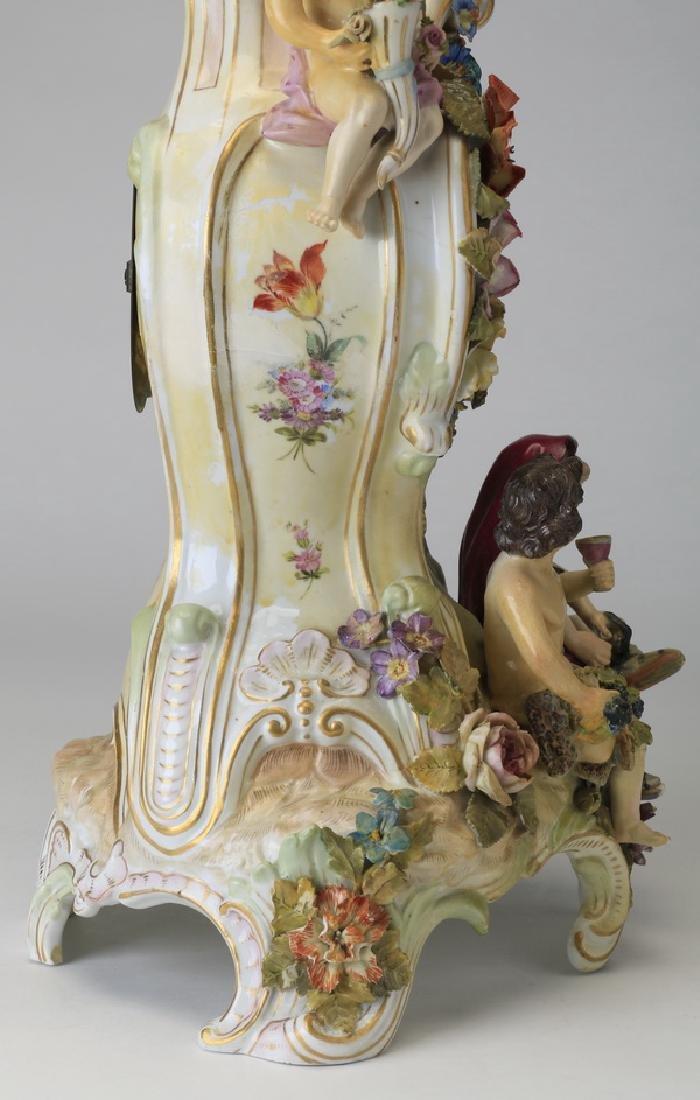 "Early 20th c. German porcelain clock, 19""h - 7"