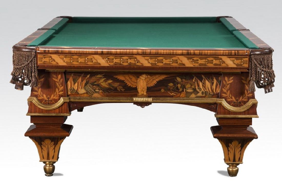 Handcrafted Italian marquetry inlaid pool table - 4