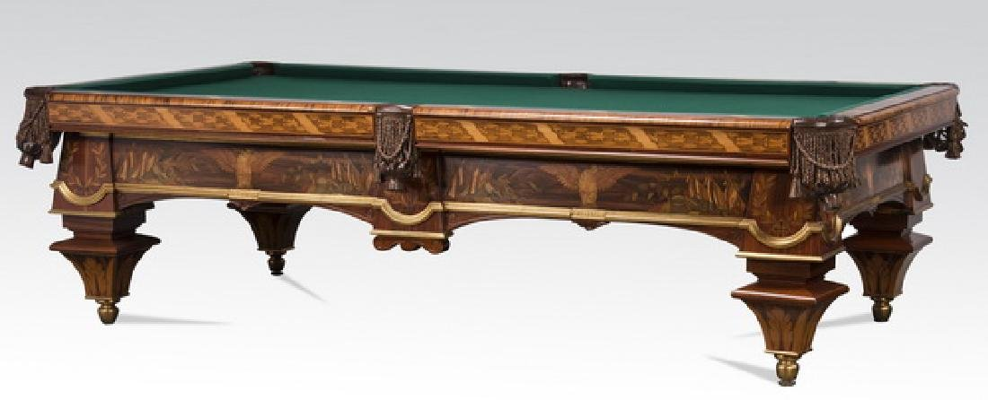 Handcrafted Italian marquetry inlaid pool table - 6