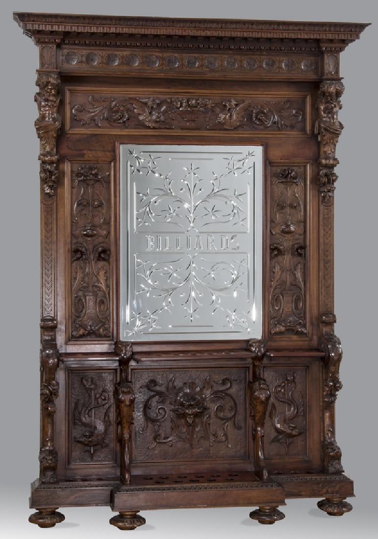 19th c. carved walnut cue rack w/ 'Billiards' mirror