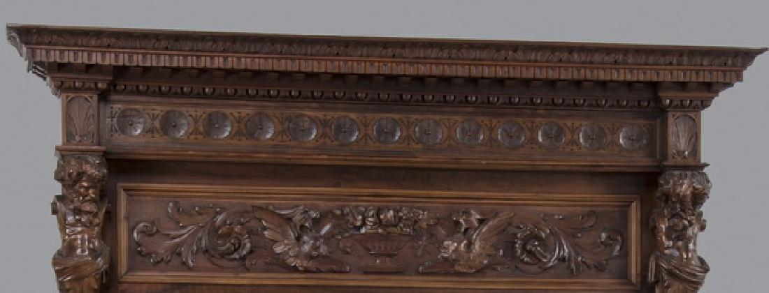 19th c. carved walnut cue rack w/ 'Billiards' mirror - 2