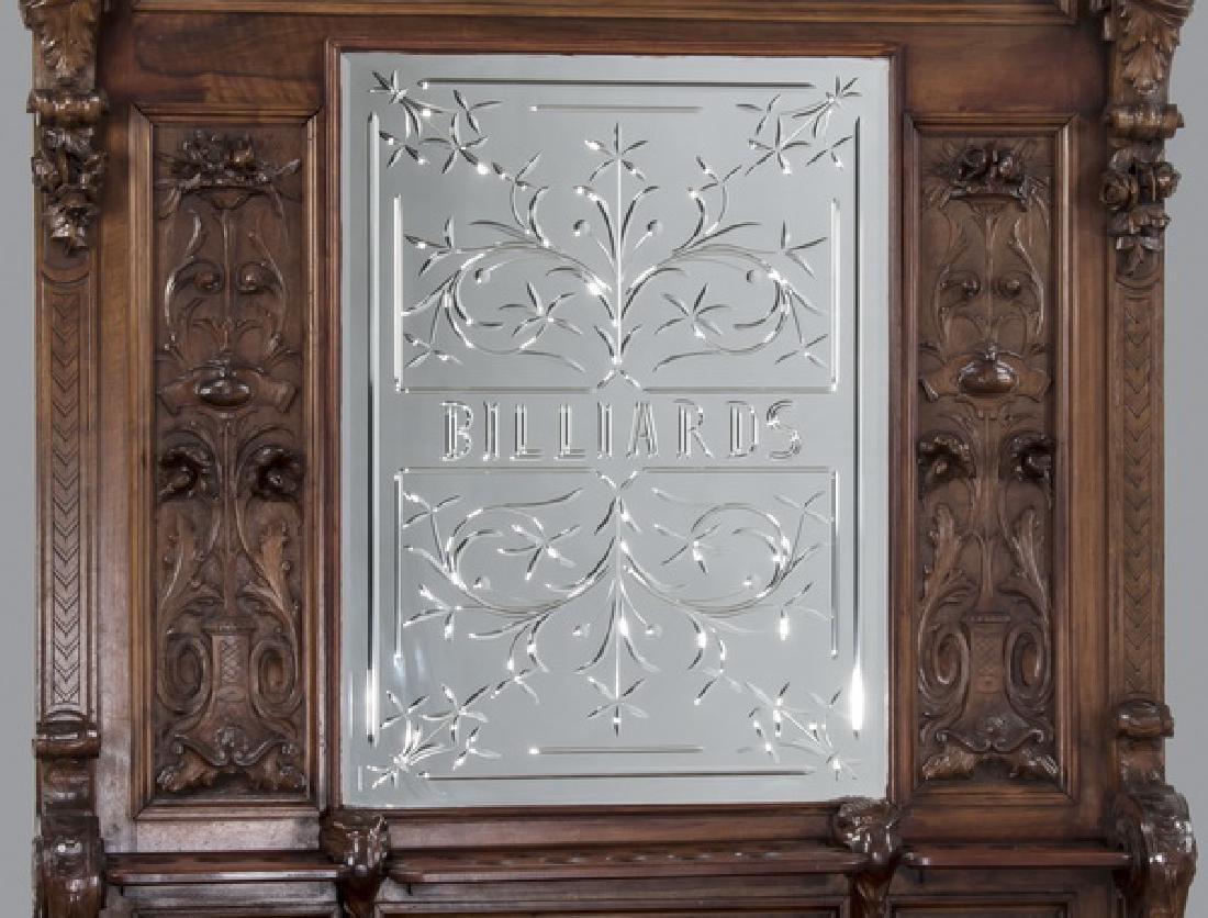 19th c. carved walnut cue rack w/ 'Billiards' mirror - 3