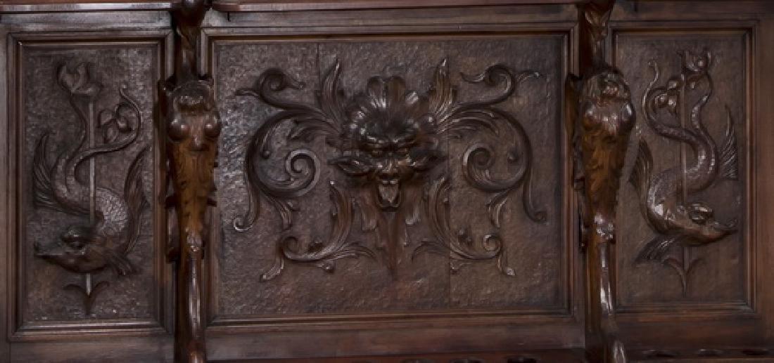 19th c. carved walnut cue rack w/ 'Billiards' mirror - 5
