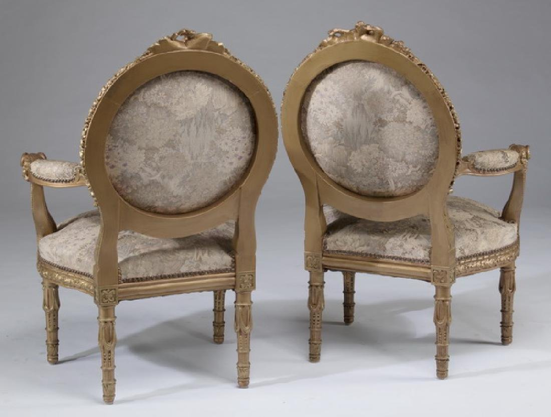 (2) Louis XVI style carved fauteuils, after Amaury - 2