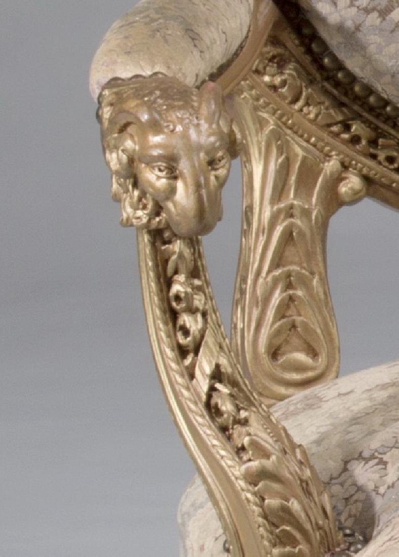 (2) Louis XVI style carved fauteuils, after Amaury - 4