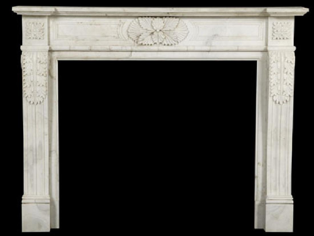 Louis XVI style hand carved marble mantel
