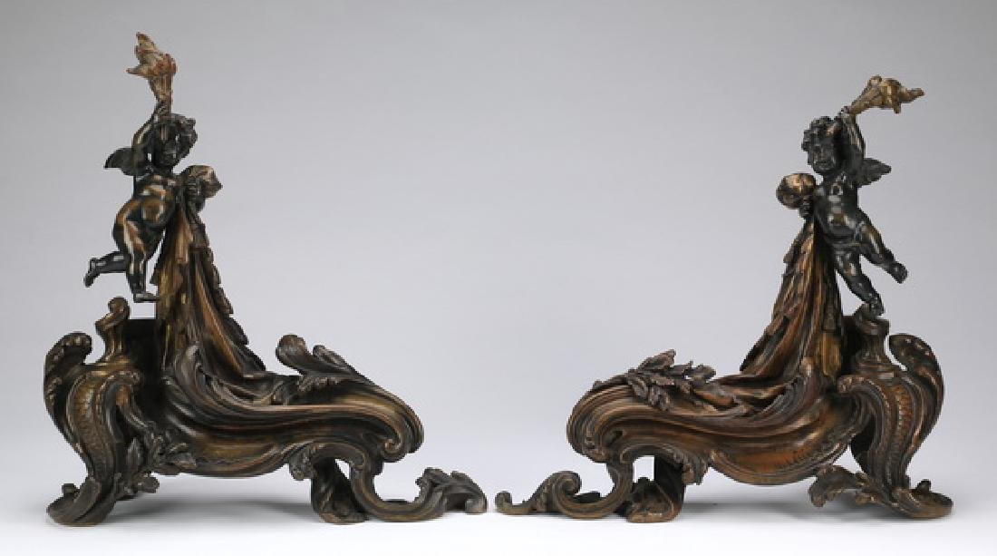 """Bronze Rococo figural chenets of putti, 18""""h"""
