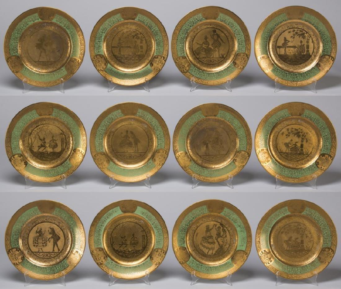 Set of 12 French Limoges porcelain cabinet plates