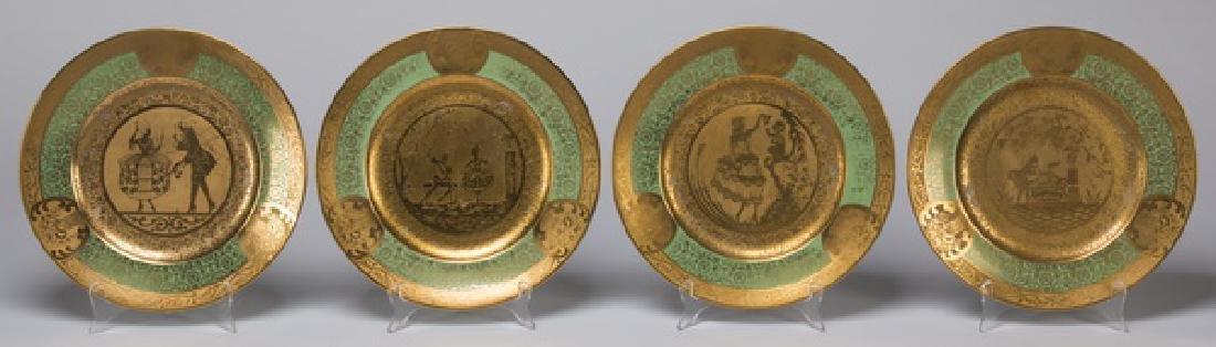 Set of 12 French Limoges porcelain cabinet plates - 2
