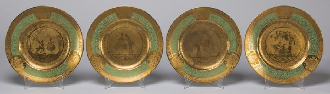 Set of 12 French Limoges porcelain cabinet plates - 3