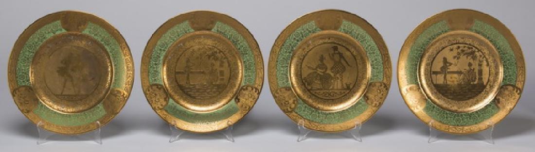 Set of 12 French Limoges porcelain cabinet plates - 4
