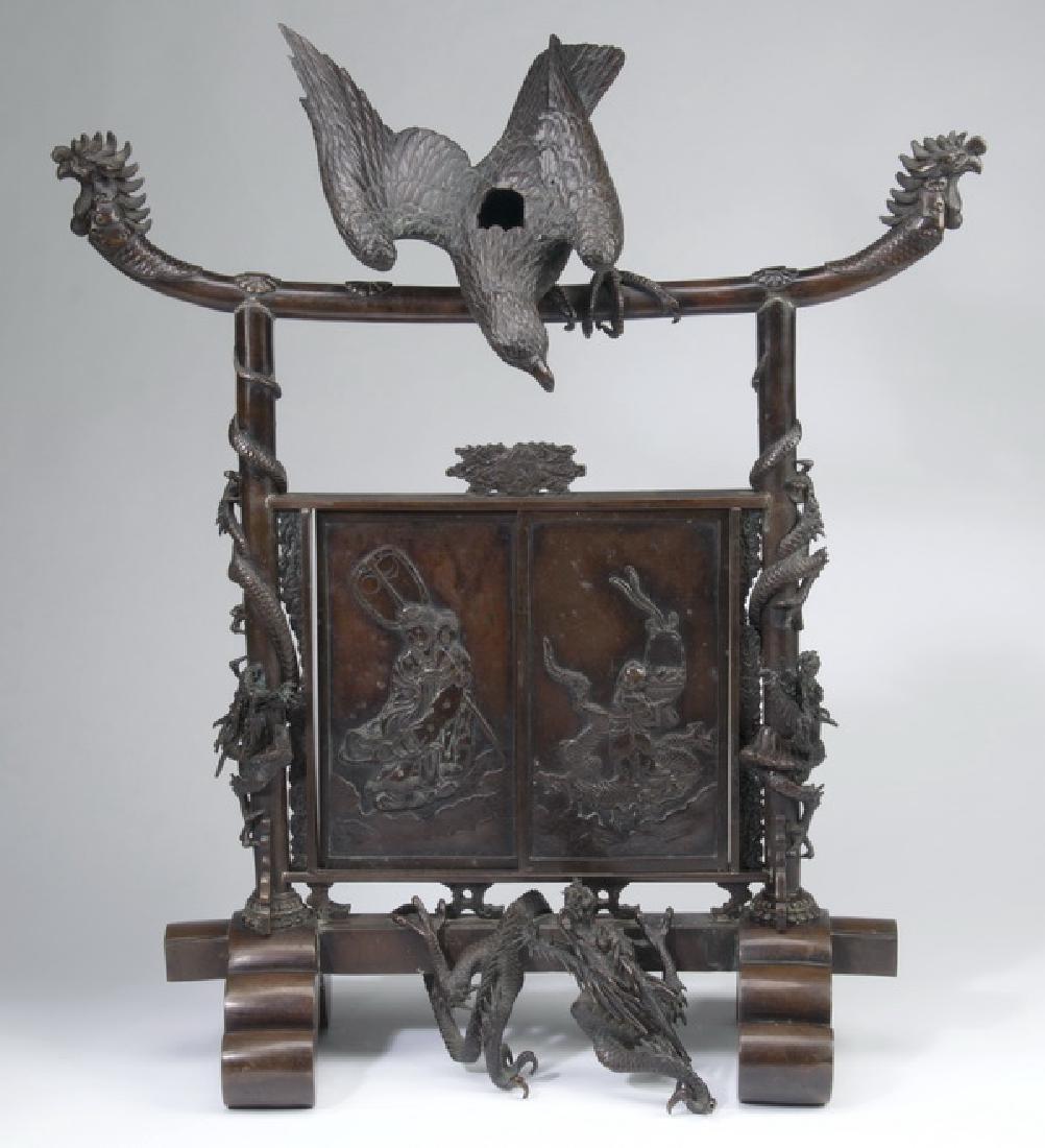 """Japanese Meiji period bronze koro, 30""""h"""