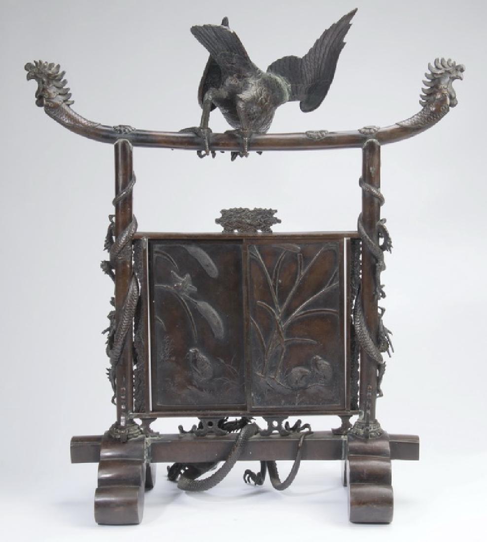 """Japanese Meiji period bronze koro, 30""""h - 2"""
