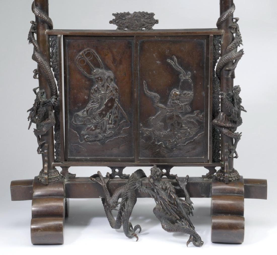 """Japanese Meiji period bronze koro, 30""""h - 3"""