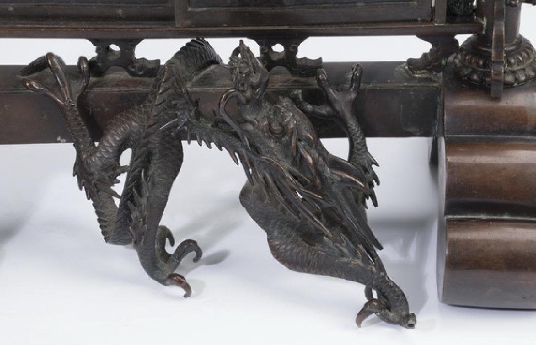 """Japanese Meiji period bronze koro, 30""""h - 4"""