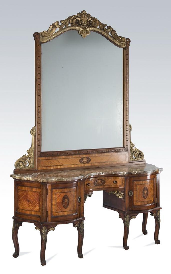 "Louis XV style parcel gilt dressing table, 83""h"