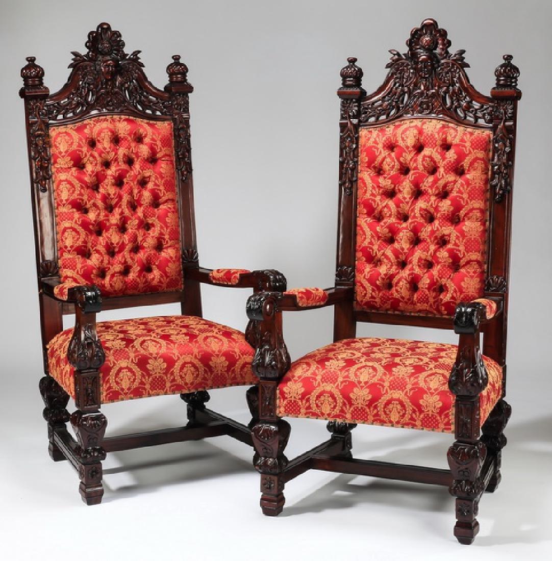 "(2) Jacobean style throne chairs, 70""h"