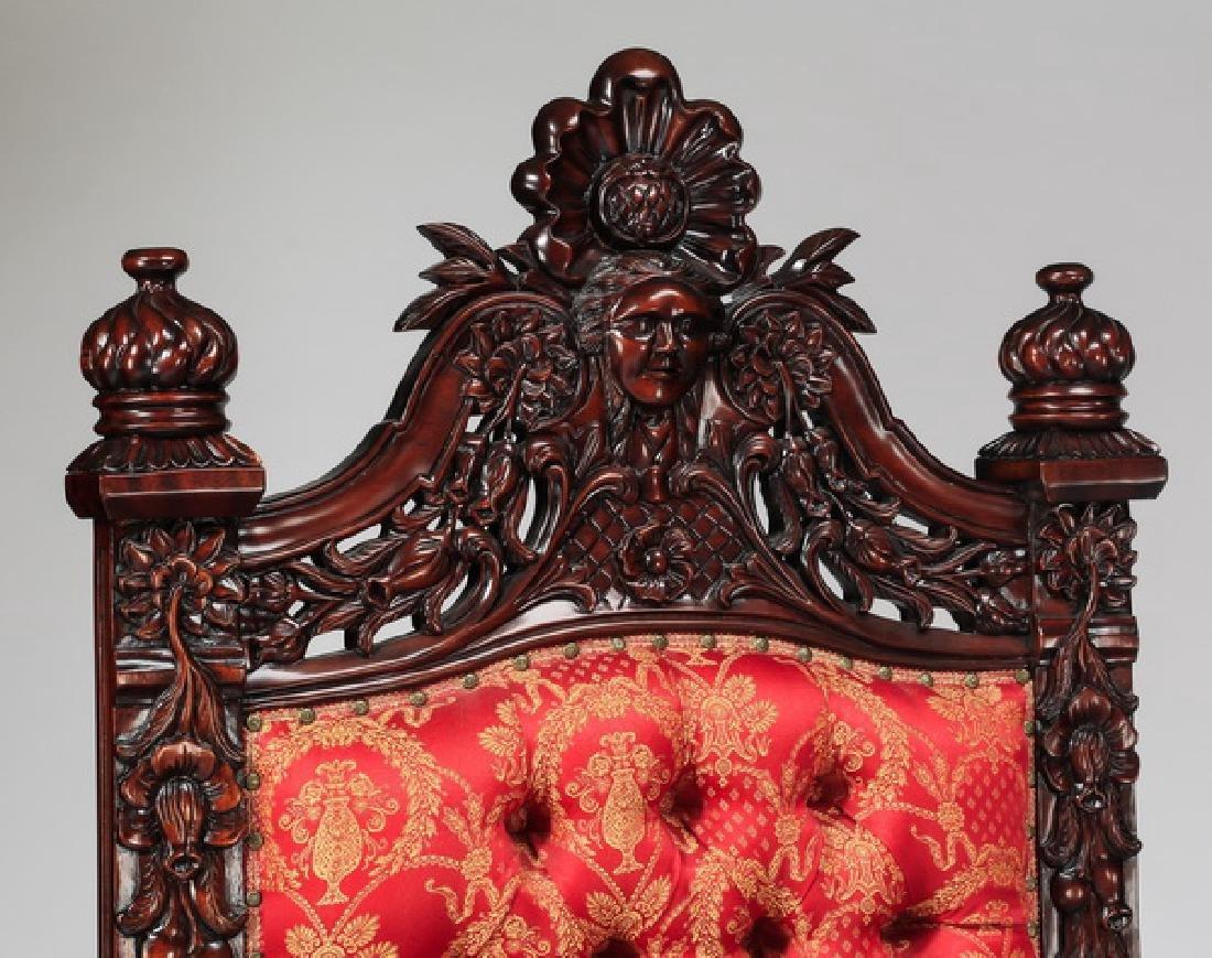 "(2) Jacobean style throne chairs, 70""h - 2"