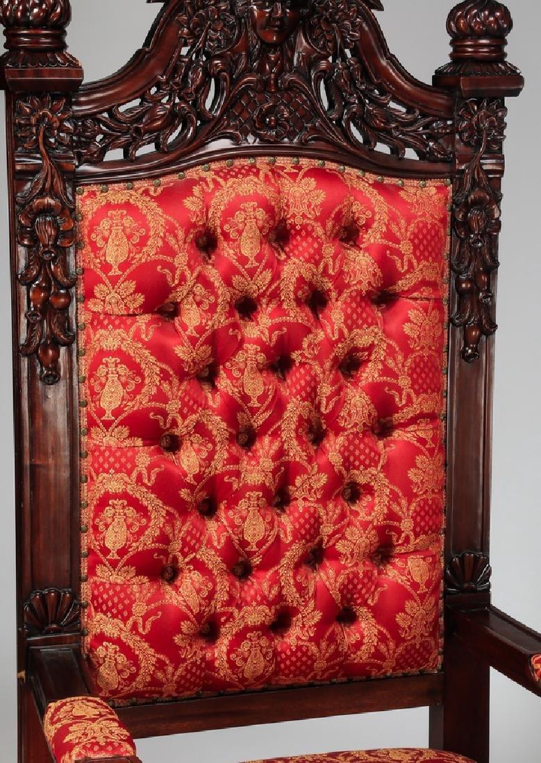 "(2) Jacobean style throne chairs, 70""h - 3"