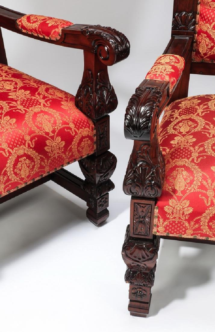 "(2) Jacobean style throne chairs, 70""h - 4"
