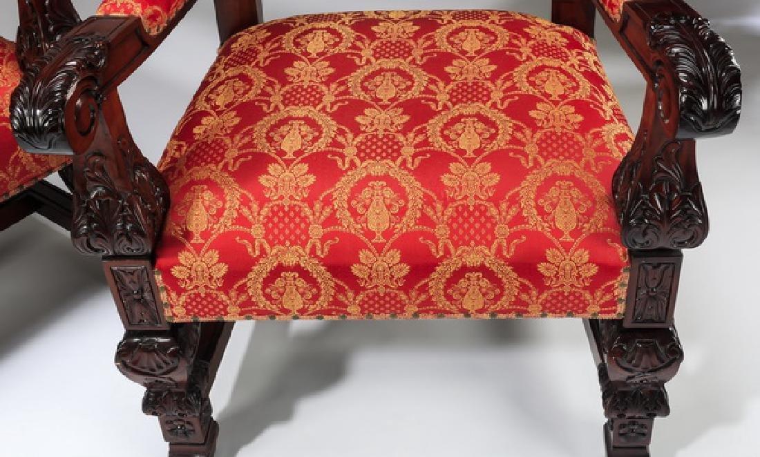 "(2) Jacobean style throne chairs, 70""h - 6"