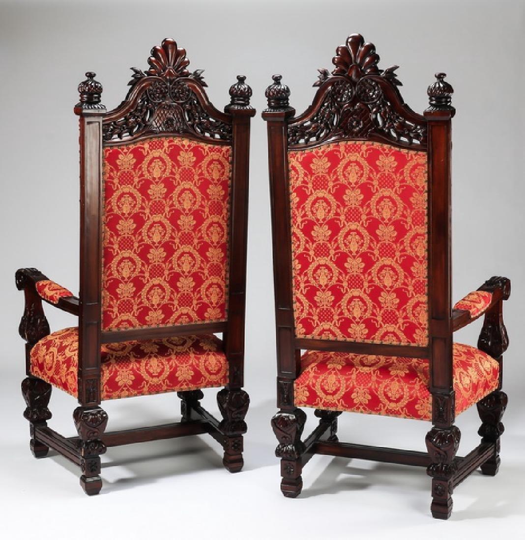 "(2) Jacobean style throne chairs, 70""h - 7"