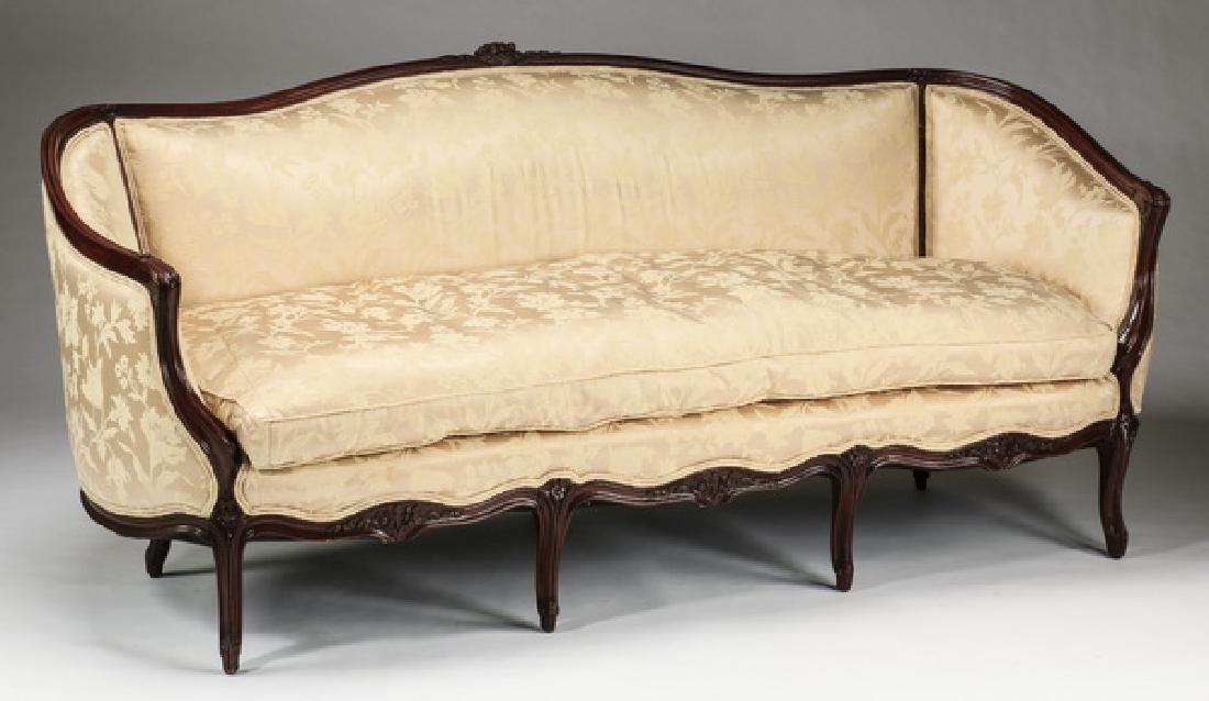 """French canape' in damask upholstery, 73""""l - 2"""