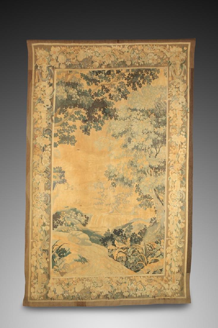 "19th c. hand woven tapestry w/ landscape scene, 110""h"