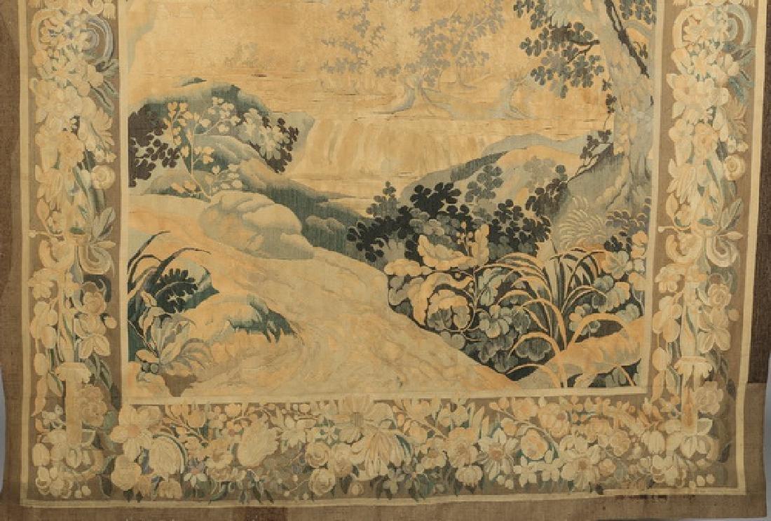 "19th c. hand woven tapestry w/ landscape scene, 110""h - 4"