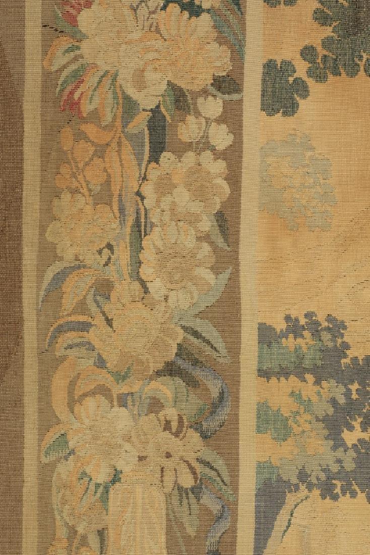 "19th c. hand woven tapestry w/ landscape scene, 110""h - 5"
