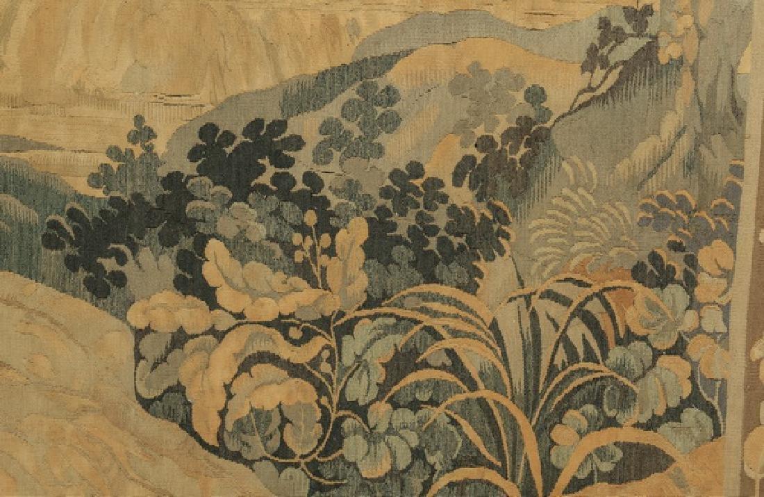 "19th c. hand woven tapestry w/ landscape scene, 110""h - 7"
