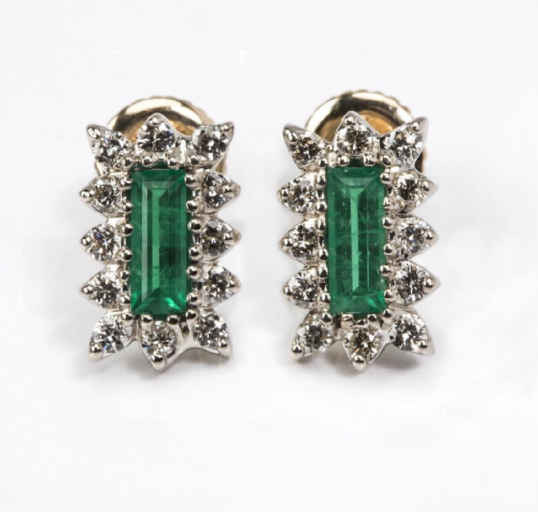 """Emerald, diamond, & 14k stud earrings, .5""""l"""