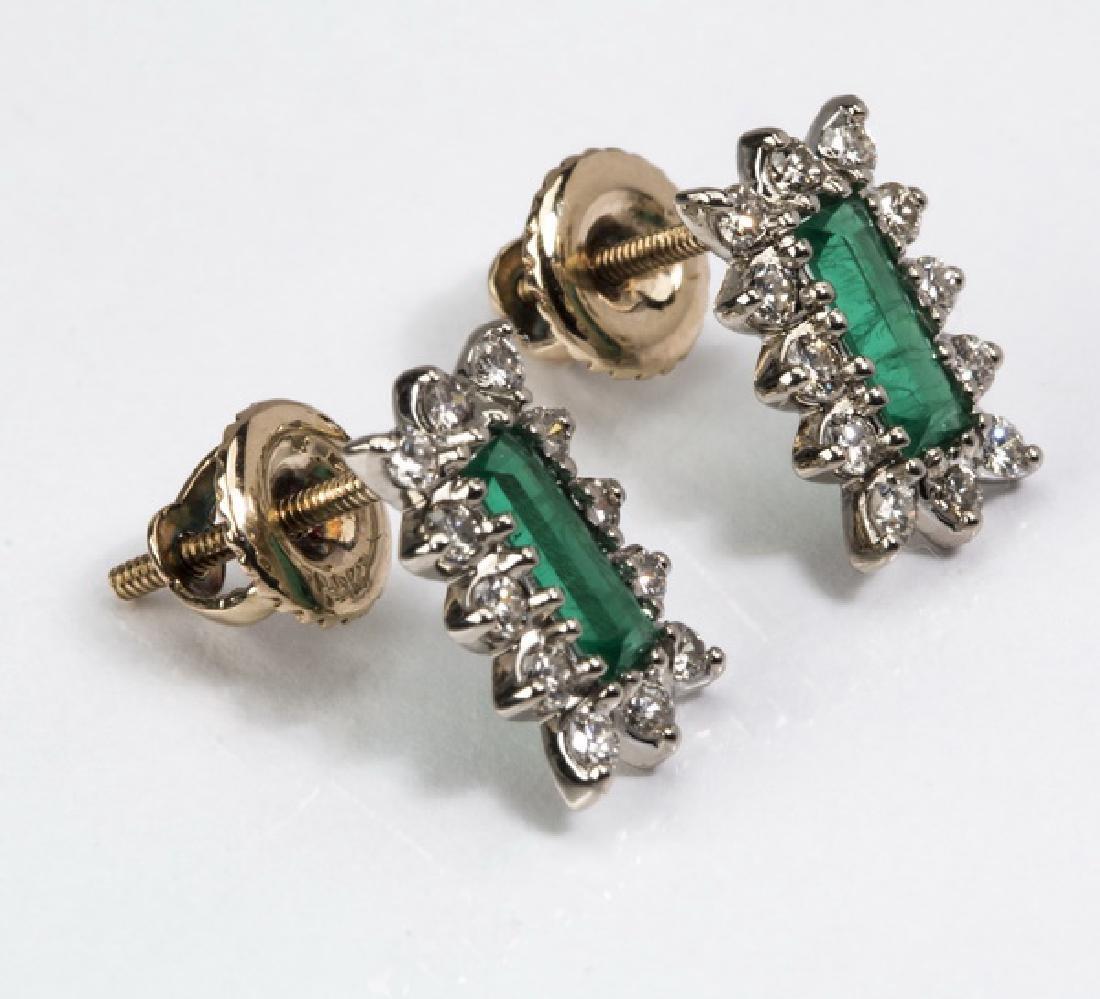 """Emerald, diamond, & 14k stud earrings, .5""""l - 2"""