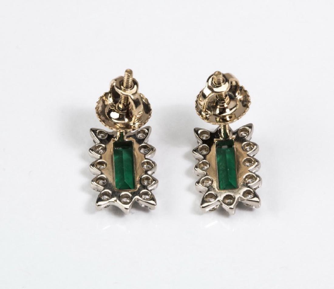 """Emerald, diamond, & 14k stud earrings, .5""""l - 3"""