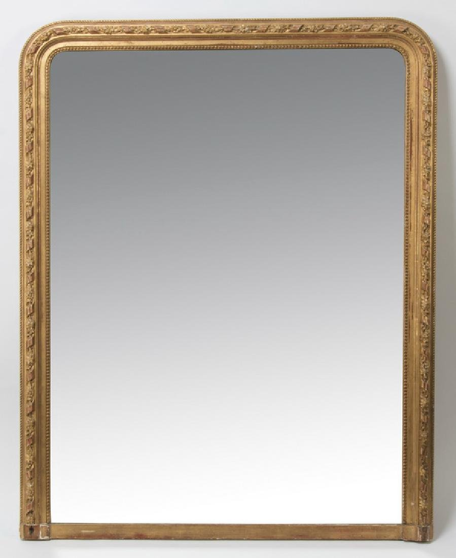 "19th c. Neoclassical style gilt wood mirror, 56""h"