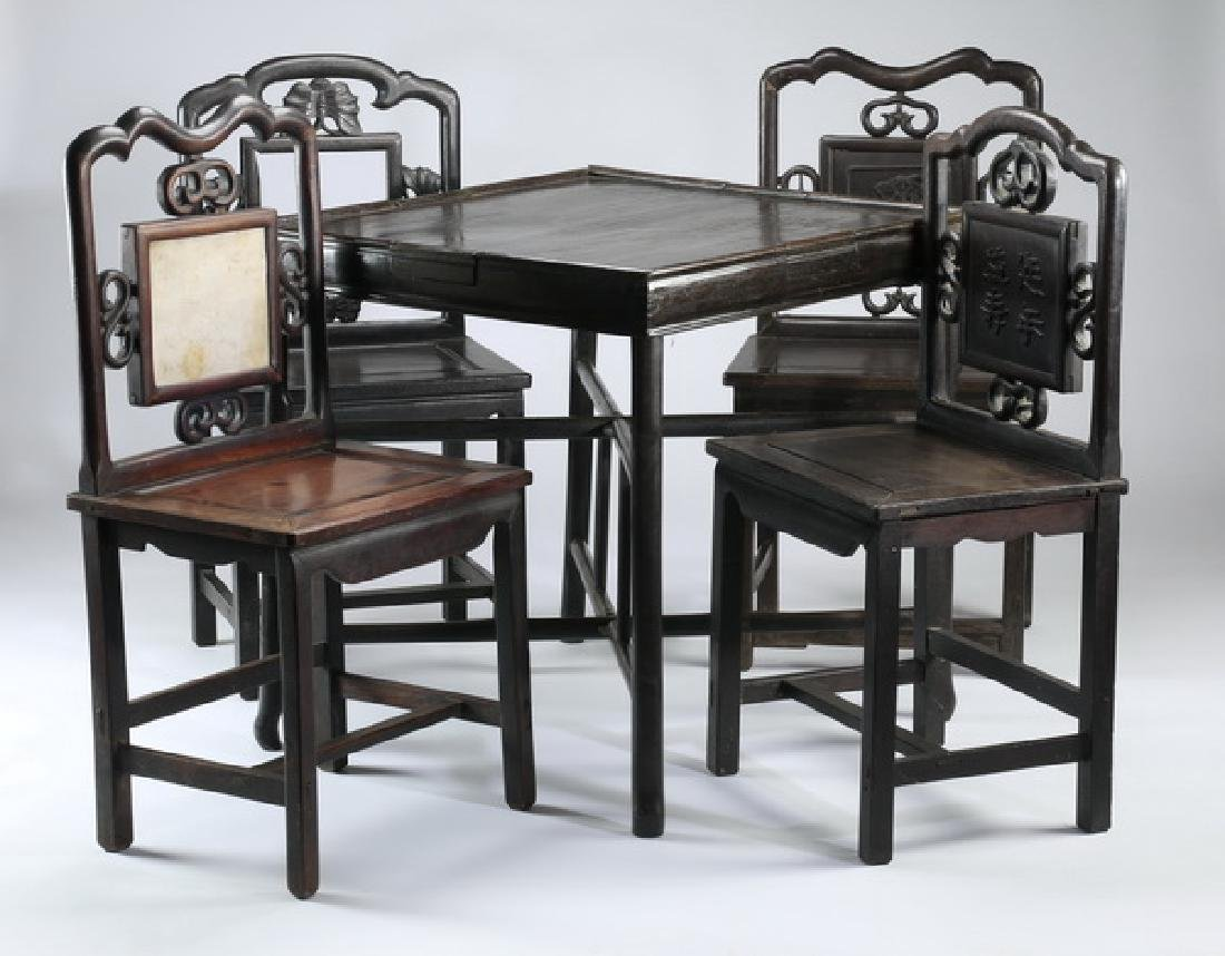 Chinese games table with four chairs