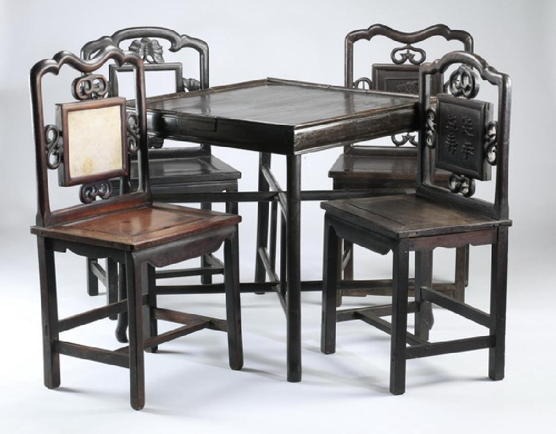 Chinese games table with four chairs - 2