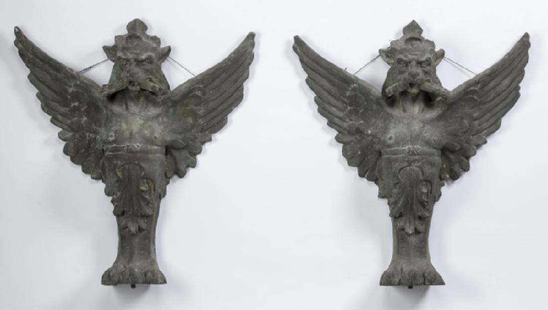 (2) Bronze griffin monopodia architectural plaques
