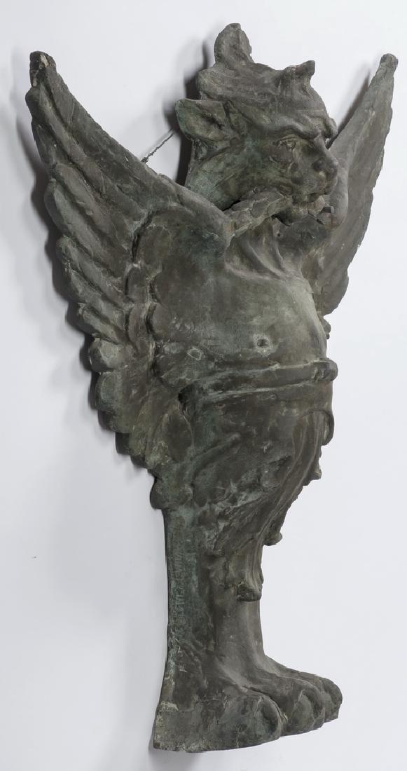 (2) Bronze griffin monopodia architectural plaques - 5