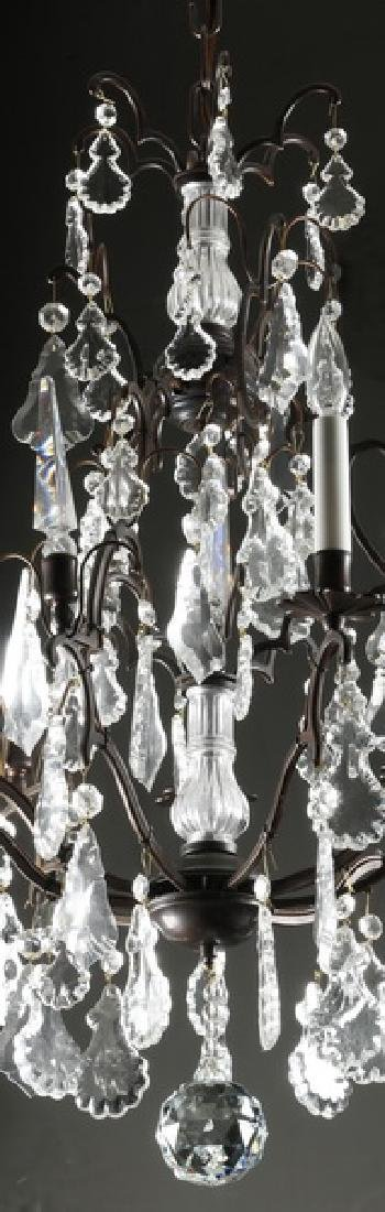 """Crystal, patinated metal 9-light chandelier, 32""""h - 2"""