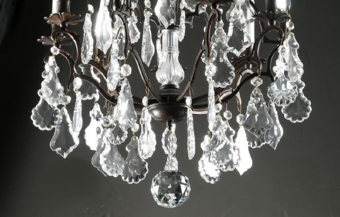 """Crystal, patinated metal 9-light chandelier, 32""""h - 4"""
