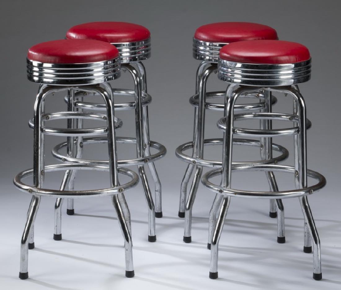 Set of (4) retro chrome & red vinyl swivel bar stools