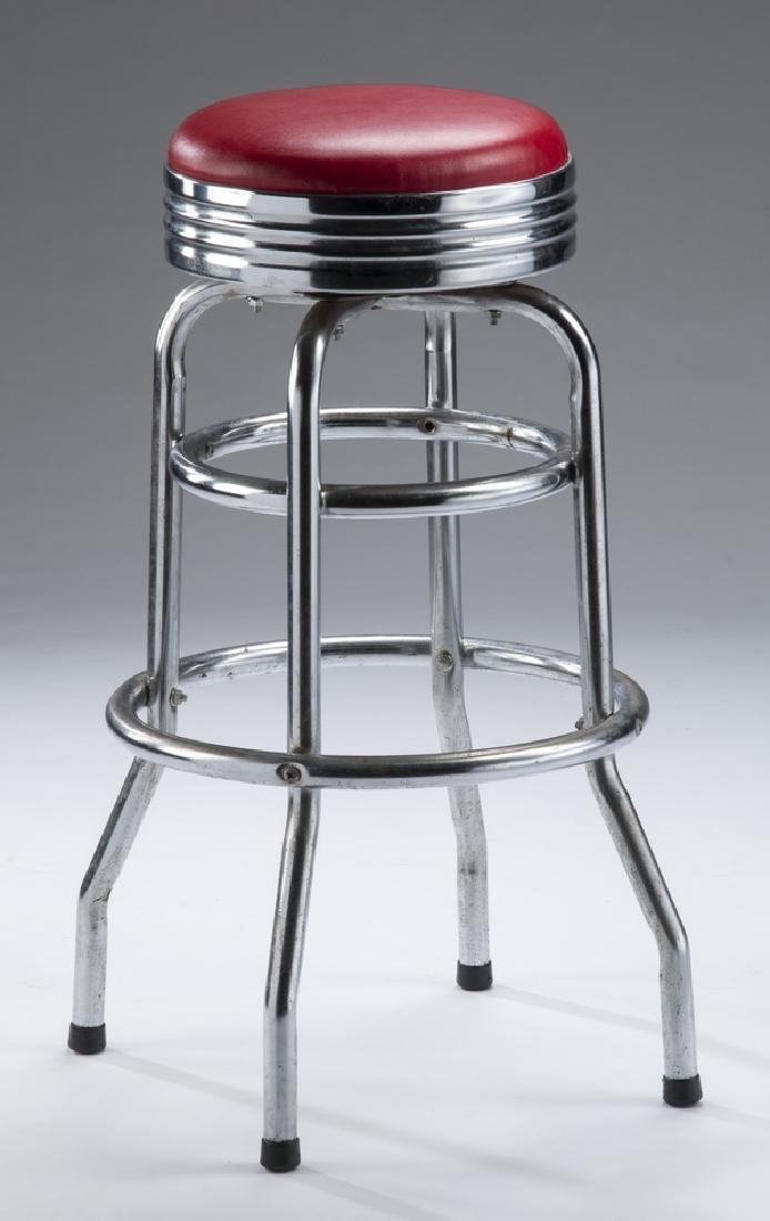 Set of (4) retro chrome & red vinyl swivel bar stools - 2